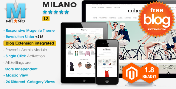 Milano - Responsive Magento Theme + Blog Extension - Magento eCommerce
