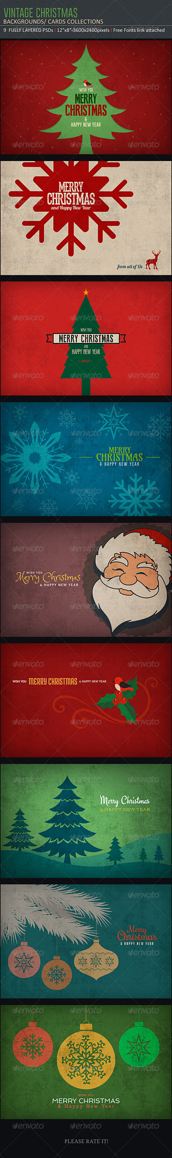 GraphicRiver Vintage Christmas Backgrounds 6010785