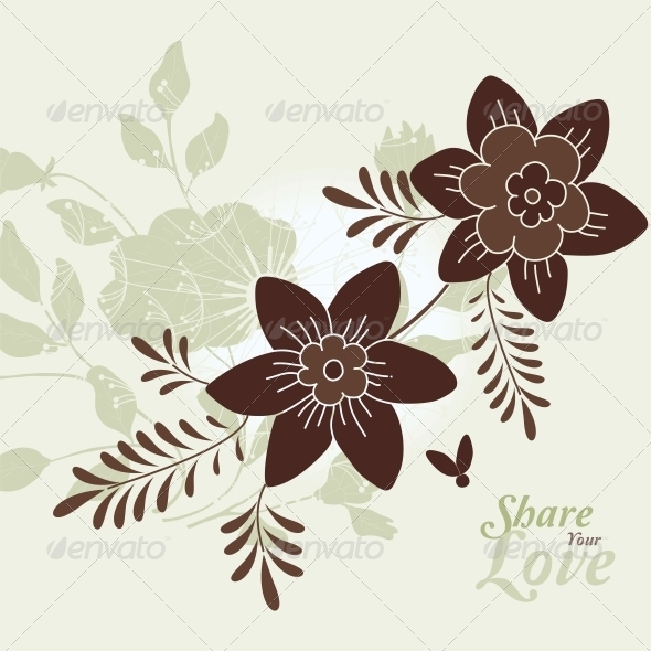 GraphicRiver Love Flowers Elegant Card 6010885