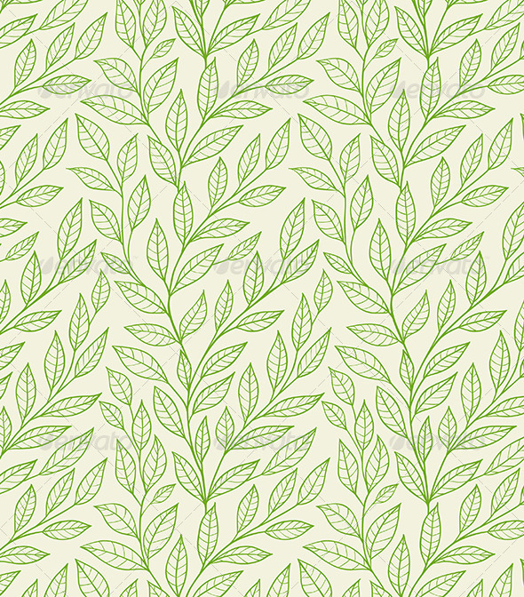 GraphicRiver Seamless Pattern with Green Leaves 6011328