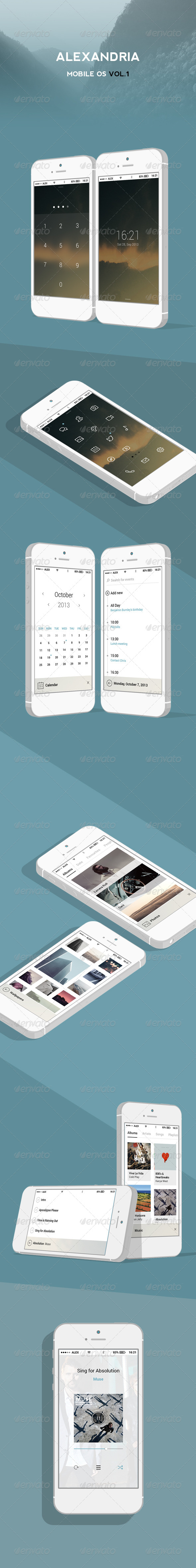 GraphicRiver Mobile OS Alexandria Vol.1 6011484
