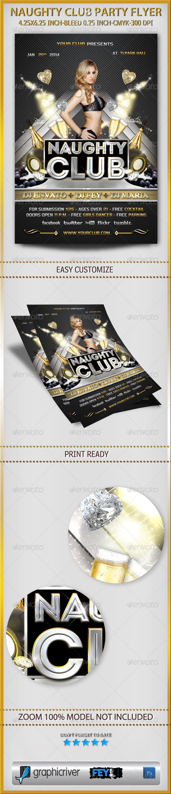 GraphicRiver Naughty Club Party Flyer 5987840