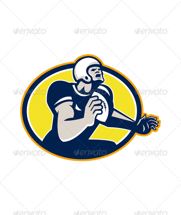 GraphicRiver American Football Quarterback Retro Oval 6015030