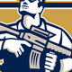 Soldier Military Serviceman Assault Rifle Retro - GraphicRiver Item for Sale