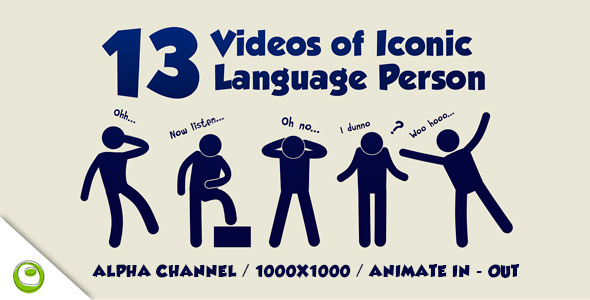 VideoHive 13 Videos of Iconic Language Person 6019418