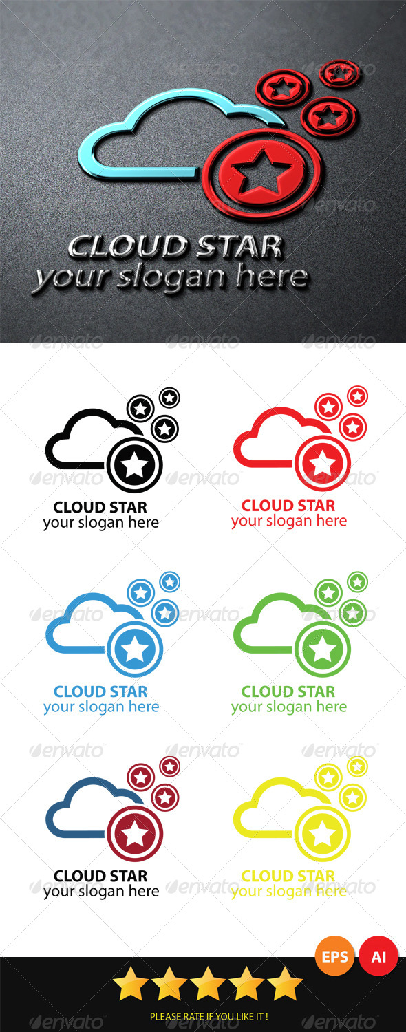 GraphicRiver Cloud Star Logo 6020665