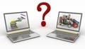Concept on-line of help in a laptops with question- mark - PhotoDune Item for Sale