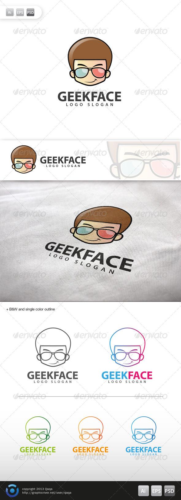 GraphicRiver Geek Face Logo 12 6020984