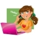 Brown-Haired Girl with Phone and Pink Laptop - GraphicRiver Item for Sale