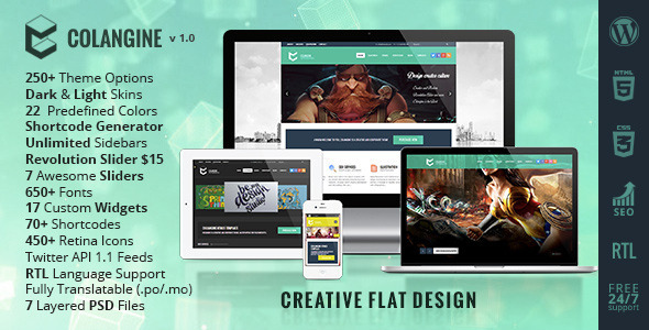 ThemeForest Colangine Creative Flat WordPress Theme 6022530