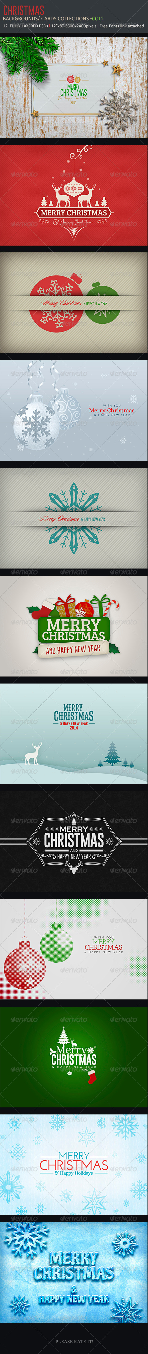 GraphicRiver Christmas Backgrounds-Cards Col2 6023925