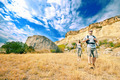 Adult man and woman are hiking - PhotoDune Item for Sale