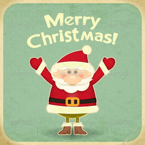 GraphicRiver Retro Merry Christmas with Santa Claus 6027841