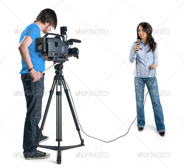 PhotoDune TV reporter presenting the news in studio isolated on white background 629615