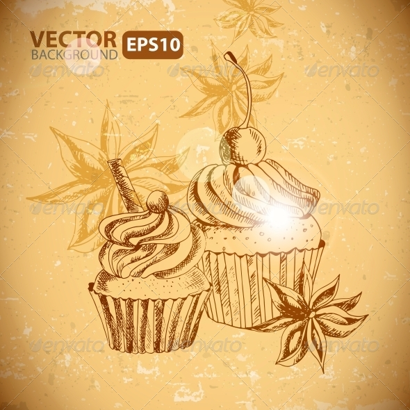 GraphicRiver Vintage Background with Cupcake and Cinnamon 6029263