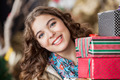 Attractive Woman With Christmas Presents In Store - PhotoDune Item for Sale