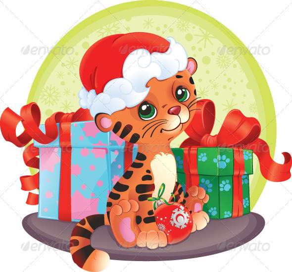 GraphicRiver Tiger Cub with Christmas Gifts 6029495