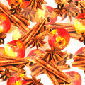 Watercolor seamless background with cinnamon and apples - PhotoDune Item for Sale