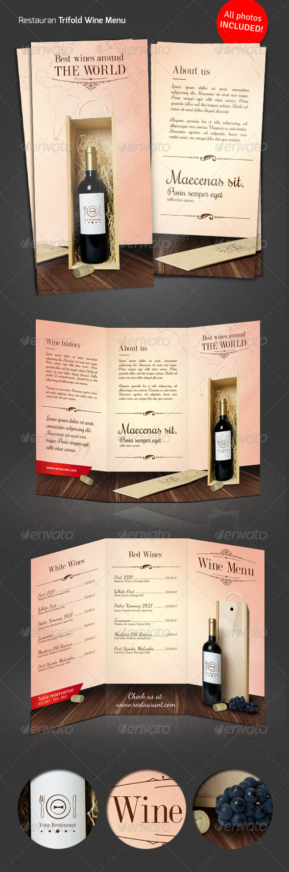 GraphicRiver Wine Restaurant Tri-Fold Menu 6030103