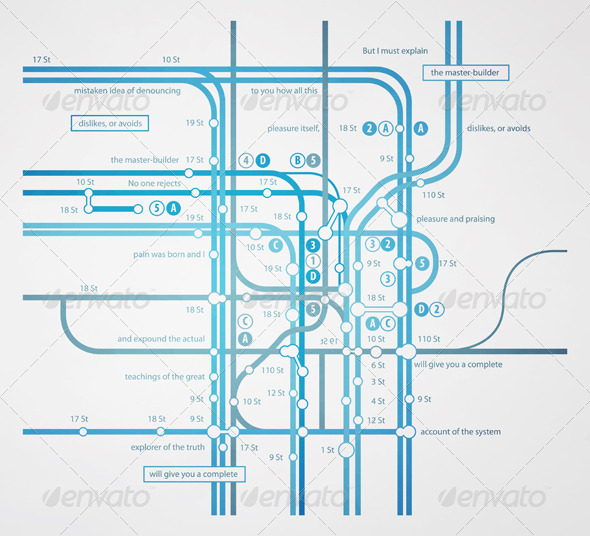 Infographics subway transportation plan - Communications Technology