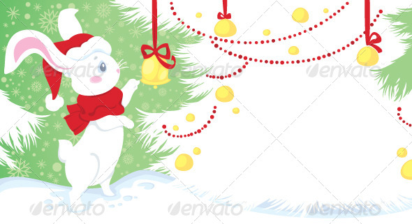 GraphicRiver Christmas Illustration with White Rabbit 6031963