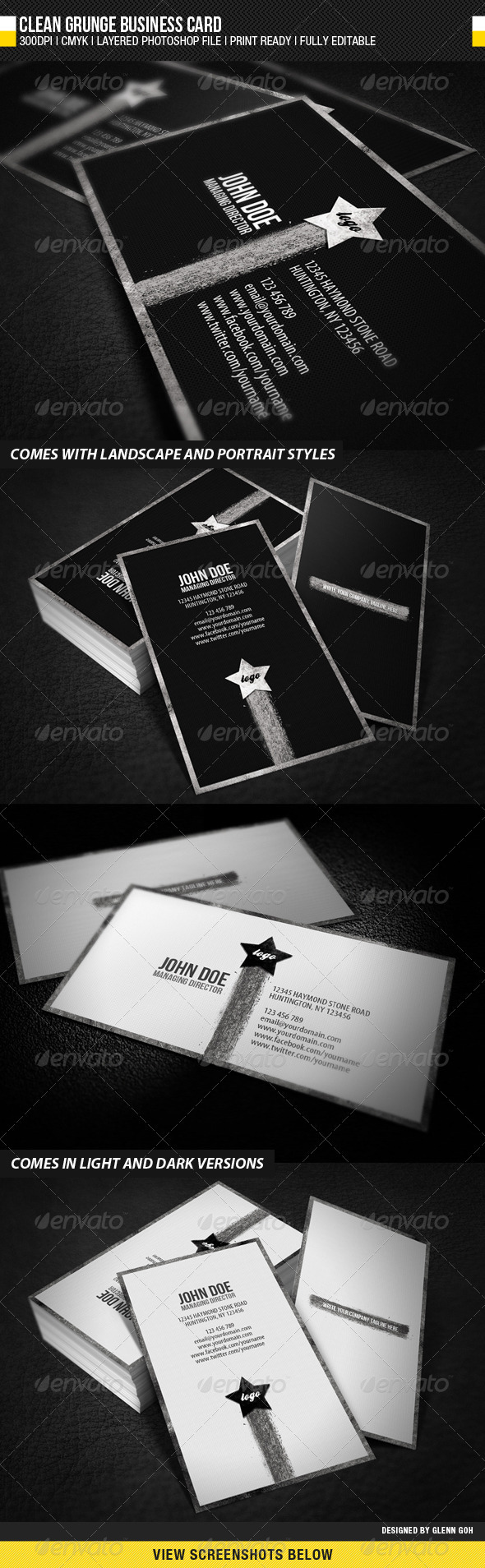 Clean Grunge Business Card - Grunge Business Cards