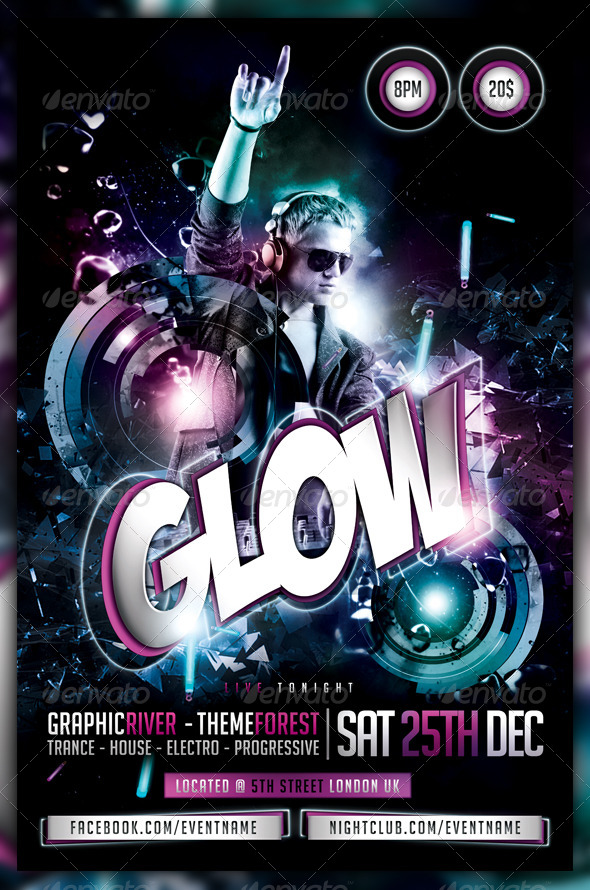 GraphicRiver Glow Neon Dance Party Flyer Poster 6033302