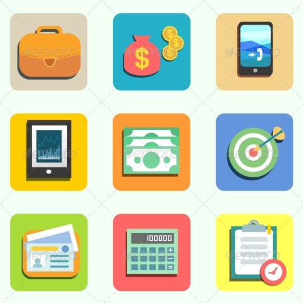 GraphicRiver Finance Flat Icons 6033661