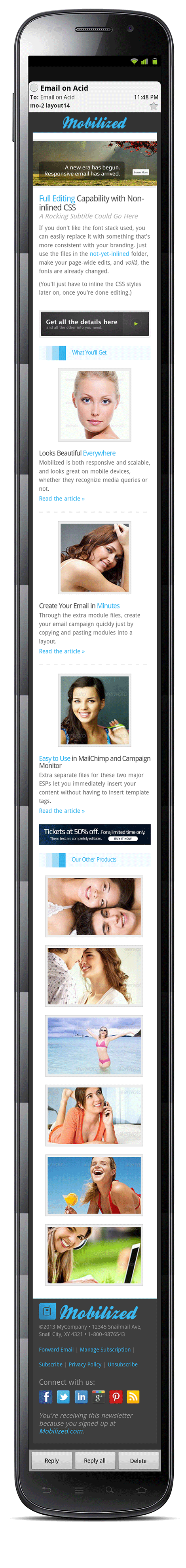 Mobilized-2 - Responsive & Modular Email Templates - Screenshot of layout14 in an Android 2.3 mobile device.