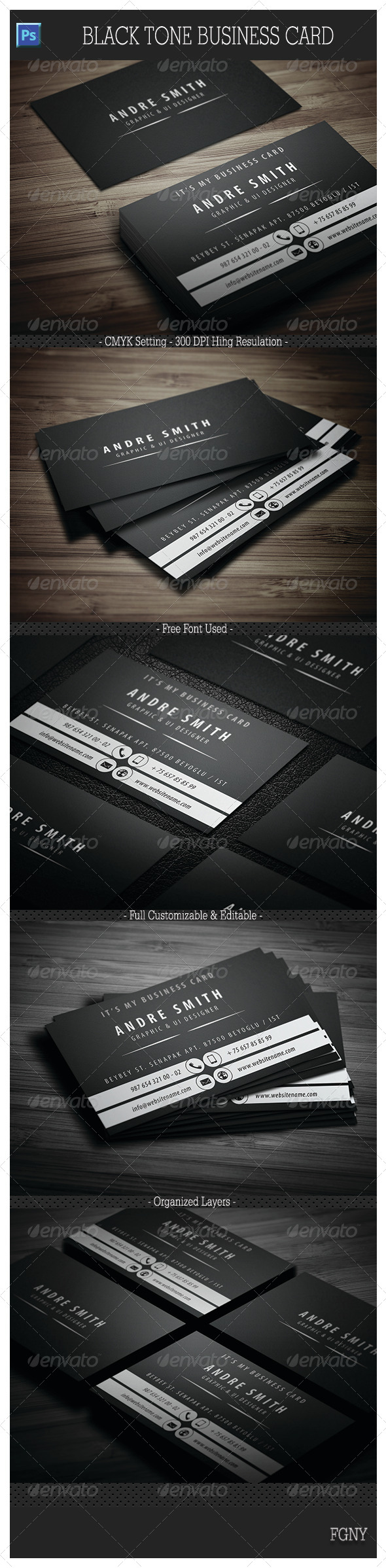 GraphicRiver Black Tone Business Card 6034727