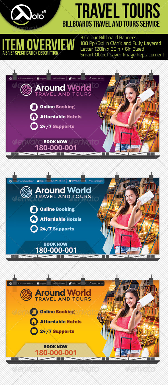 Travel and Tour Billboard - Signage Print Templates