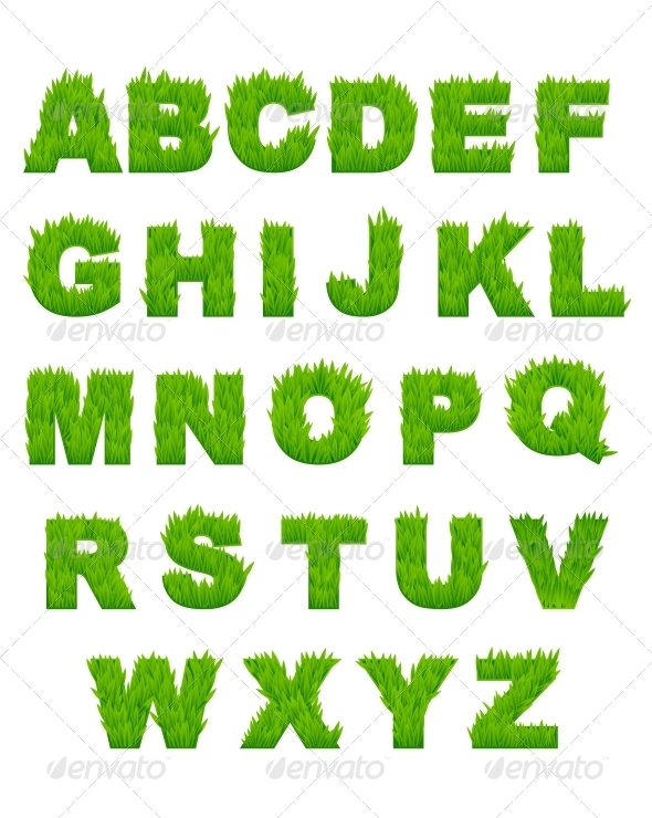 GraphicRiver Green Grass Letters of Alphabet 6035370