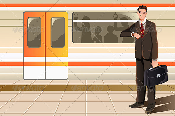 GraphicRiver Businessman Waiting for Subway 6035536