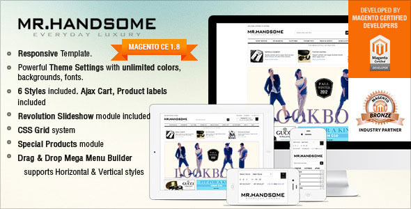 Responsive Magento Theme - Gala Mr.Handsome - Fashion Magento