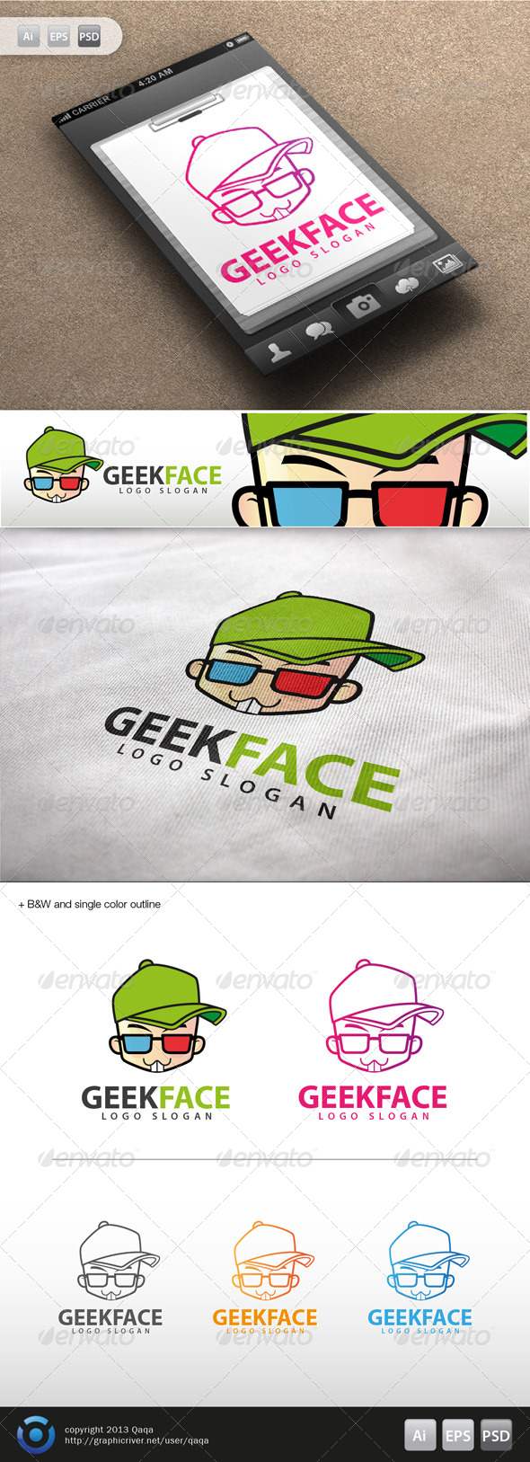 GraphicRiver Geek Face Logo 14 6035625