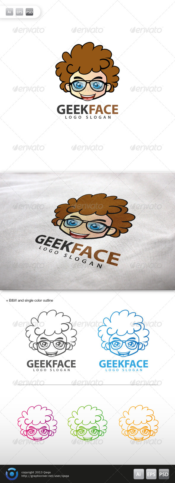 GraphicRiver Geek Face Logo 15 6035637