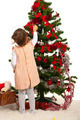 Little toddler girl decorate Xmas tree - PhotoDune Item for Sale
