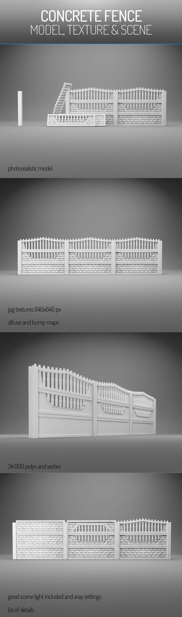 3DOcean Concrete Fence 6037219