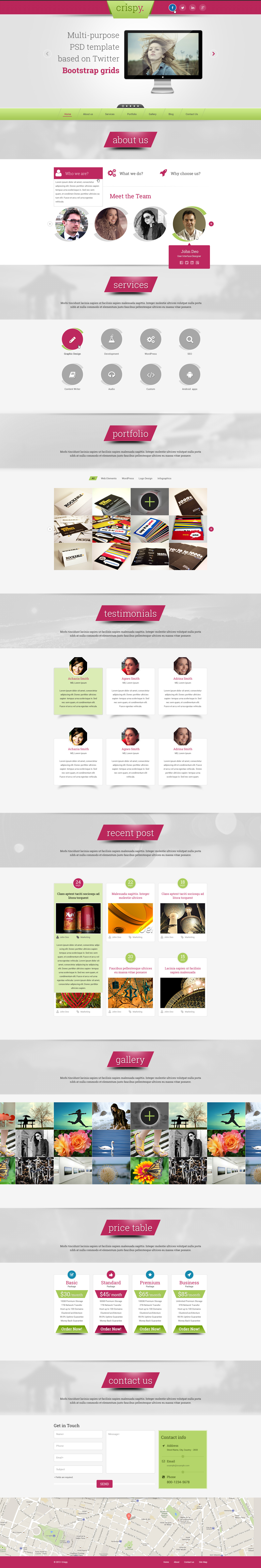 Crispy - One Page PSD Template
