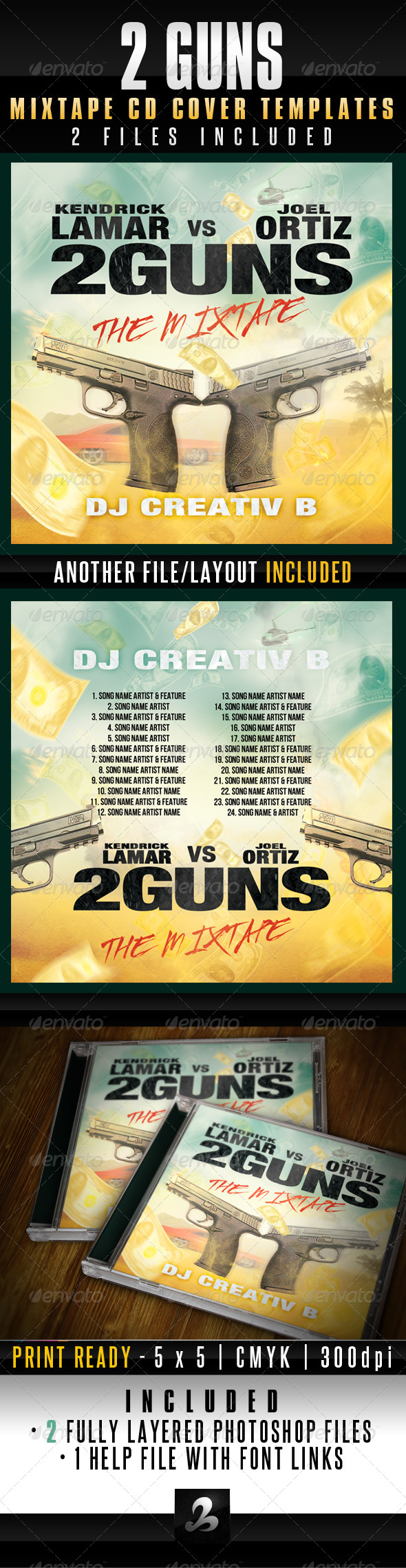 GraphicRiver 2 Guns Mixtape CD Cover Templates 6014249
