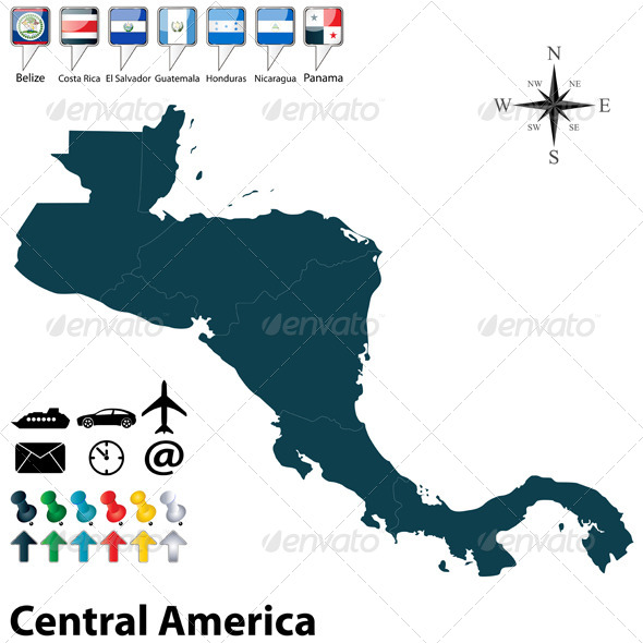GraphicRiver Political Map of Central America 6039399