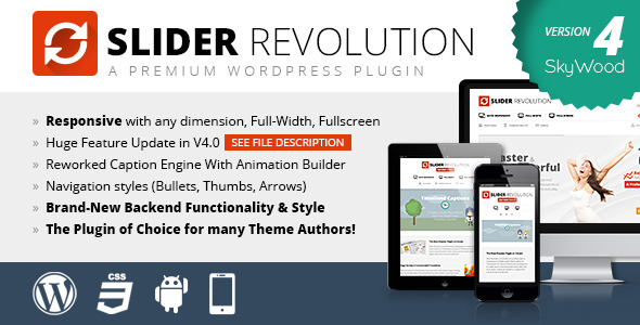 Slider Revolution! Responsive WordPress Plugin included
