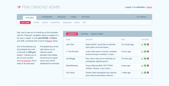 ThemeForest Pink Diamond Admin 26859