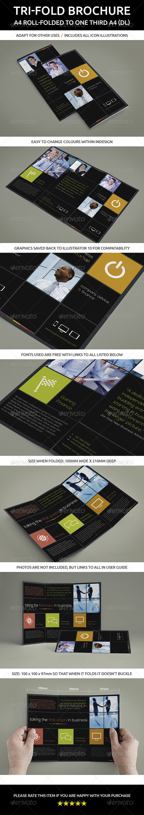 GraphicRiver Tri-fold Brochure A4 roll-folded to one third A4 6041422