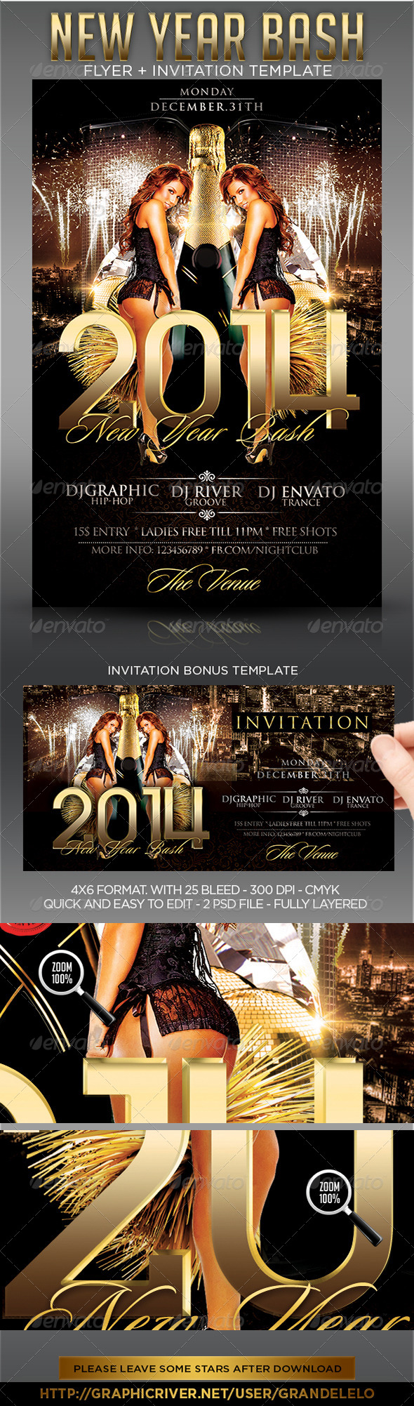 2014 New Year Party Flyer Template - Clubs & Parties Events