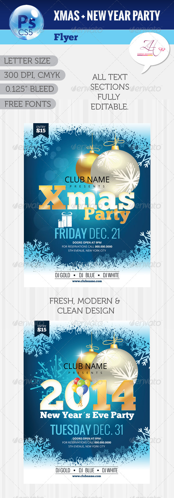 GraphicRiver Xmas & NYE Party Flyer 6042924
