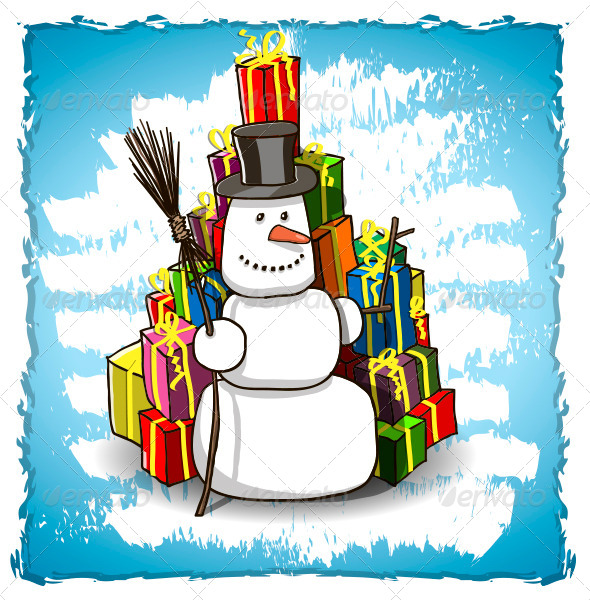 GraphicRiver Snowman with Gifts 6044384