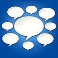 Chat Bubbles Conversation on Blue 3D Background - PhotoDune Item for Sale