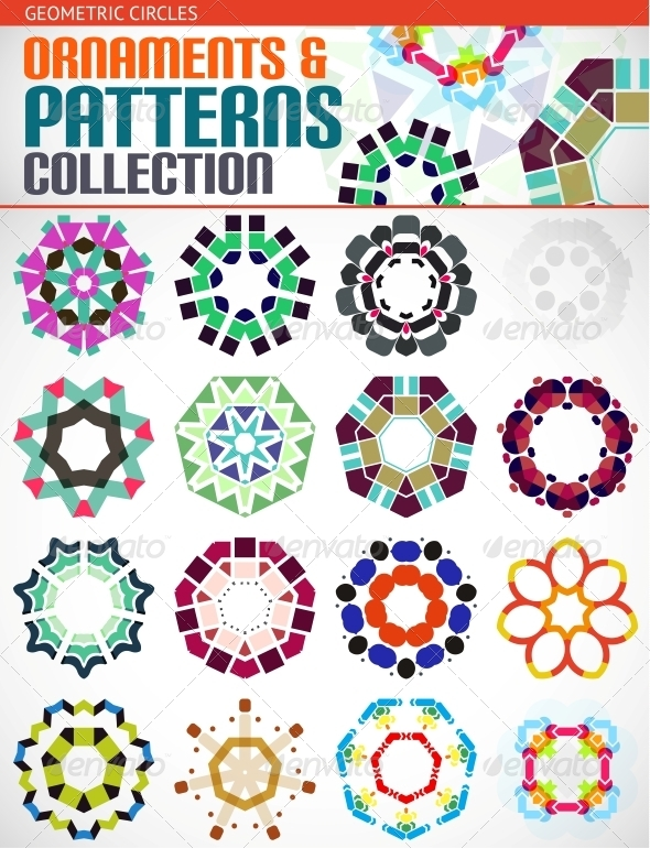 Geometric Round Shapes Set for Backgrounds - Patterns Decorative