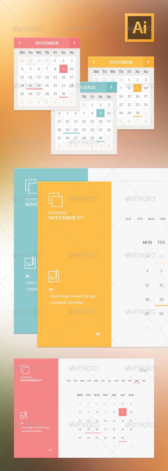 GraphicRiver Flat Style Calendar Widgets 6046430